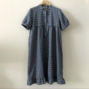Dresses & Skirts - Blue/White Plaid Button-Down Babydoll Dress